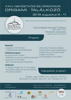 24. Nemzetközi és Országos Origami Találkozó - 2013 Pécs